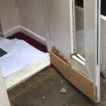 Sewer backup location; shoddy door