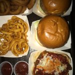 Jumbo hot dog, side fries, Mac n cheese bites, Calzone special Bacon cheese burgers, curly fries
