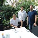 Prof. HJ Birx & Marko Bozovic with waiter Alvin (photo by Prof. Ljiljana Markovic).