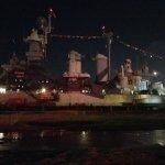 Beautifulnight time photo of the battleship!