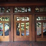 The fabulous stained glass doors of Torrey Pines golf course.
