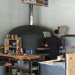 Wood burning pizza oven.
