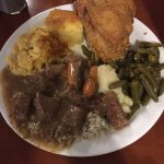 A tasty plate from the hot buffet bar. Friend chicken, cornbread, and beef stew was all deliciou