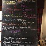 Pudding club menu and pics of room