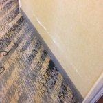 Bashed up hallway walls