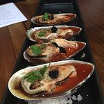 Green shell mussel with red Nahm Jim
