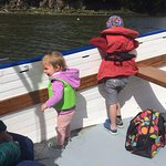 My children on the hunt for sharks in the river. Kept them entertained.