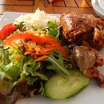 Pork knuckle with salad