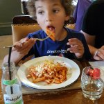 Children's pasta with tomato sauce and cheddar cheese. Very tasty.