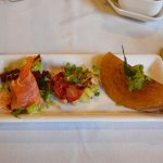 delicious smoked trout, strawberries and kangaroo in a dosa