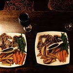 A trio of lamb chops served with real ale and mustard sauce, hand cut chips and seasonal veg.