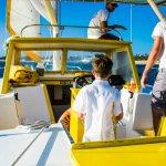 Captain Aidan guiding us through the calm water