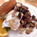 Steak, egg and cheese GF bagel sandwich.