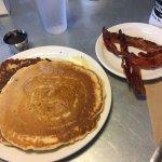 Buttermilk pancakes w/blueberries, side of bacon