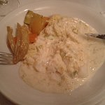 Bacalao con salsa de puerros muy sabroso