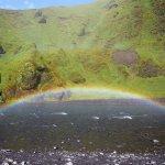 rainbow near the waterfall