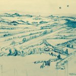 My sketch from the veranda--view of Val d' Orcia and swallows