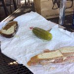 Turkey on pumpernickel, virginia ham on french, and a giant pickle!