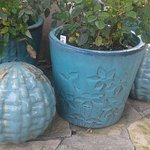 ceramic pots on entry walkway
