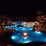 Night view of three main pools.