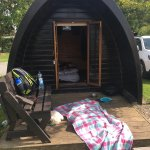 Standard glamping pod both inside and out.