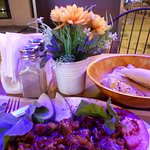 Late dinner at an outside table