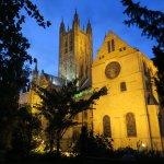 The view of Canterbury Cathedral from the lodge garden at night.