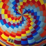 Internal hot air balloon envelope view during flight