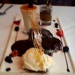 Quartet of  Desserts. Coconut Ice-Cream, Sticky Toffee Pudding, Lemon Posset & Layered Chocolate