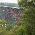 View of the New River Gorge Bridge from the upper observation deck. August 2017.