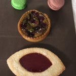 Macarons, fruit tart, and Linzer Cookie