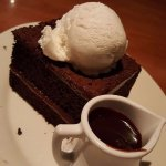 Chocolate fudge cake with vanilla ice cream and hot fudge