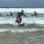 Niece surfing after a short lesson