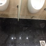 Public area toilet leaking too bad and there is tissues