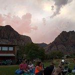 Sunset behind the mountain, plenty of parking/seating/FUN