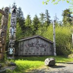 Alaskan Native totems and clan house