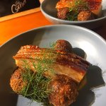 Slow Braised Pork Belly. with Toffee Apple Puree, & Black Pudding Croquettes.
