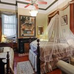 Cannonball Room. Ooh la la. 1800s parlor where ladies of evening lounged. 13' ceilings+
