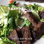Black & Blue Steak Salad. Good cuts of steak. Standard salad fixings. House dressing is good.