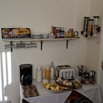 Breakfast bar for cereals, yogurts, coffee, juice, toast and spreads.