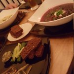 Borscht, artichoke soup, sardine sandwiches, smoked herring and dark bread