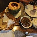 fish, chapatis and dab chingdi