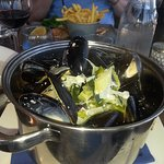 Mussels with white wine and cream, very tasty