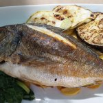 Sea Brime, Grilled with Veggies & Potato COINS, under fish