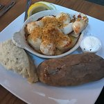 Really good Baked Stuffed Haddock and Scallops... just the Swordfish in the back was a little dr