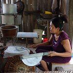 Making rice paper by hand, you can have a go too