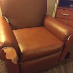 Recliner from the 1st room. Should really have been replaced as the rest of the room was not bad