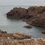 Rochas entrando no mar.