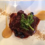 Braised Short Rib with Peach & Blueberry Sauce