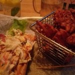 Lobster roll and sweet potato waffle fries